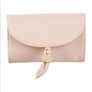 Chloe nude pink leather makeup bag coin pochette